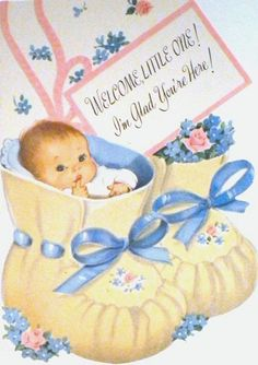 Vintage welcome baby card, 1961.