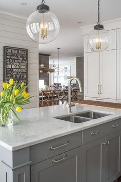 Marble KItchen Island Countertop Fitted with Cutting Board - Transitional - Kitchen Grey Kitchen Island, Gray And White Kitchen, Grey Kitchen Cabinets, Kitchen Redo, Kitchen Dining, White Cabinets, Gray Island, Maple Cabinets, Marble Kitchen Countertops