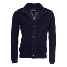 Barbour Helm Button Through Wool Cardigan, Navy Online at johnlewis.com