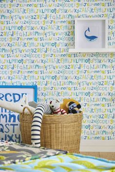 Wallpaper design featuring various vibrant letters of the alphabet by Scion.