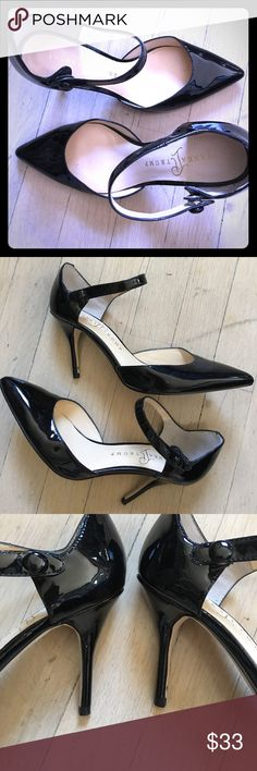 Black patent Ivanka Trump Heels Very good condition size 7 Black patent Ivanka Trump 3 1/2 inch heels with snap ankle strap - only mark is per picture on back of left heel which is not noticeable at all when on Ivanka Trump Shoes Heels