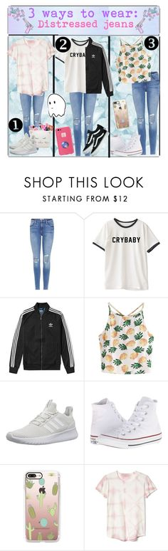 """""""3 ways to wear: distressed jeans"""" by switchkid ❤ liked on Polyvore featuring Frame, adidas, WithChic, adidas NEO, Converse, Casetify, Gap and Vans"""
