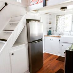When thinking about where to put your fridge, consider below the stairs! We went with an 11 cu.ft. Fridge, which is bigger than most, and worth every inch:)  Also from Music City Tiny House facebook here:  https://www.facebook.com/musiccitytinyhouse?fref=photo