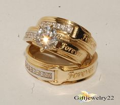 14k Yellow Gold Over His Hers Diamond Wedding Bridal Engagement Trio Ring Set
