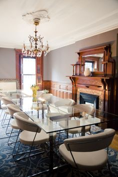 """Brooklyn brownstone interior design project: modern dining room decor"""