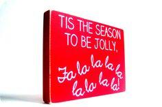 Tis the Season to be Jolly. Wood Block Christmas Decor.