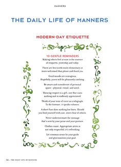 Etiquette Rules | Be