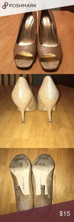 BCBGeneration gold glitter heels!! BCBGeneration fun gold glitter heels. Open toe 4in heel BCBGeneration Shoes Heels