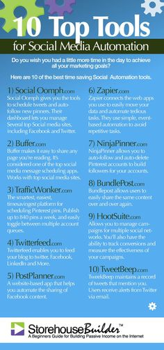 10 Top Tools for Social Media Automation | StorehouseBuilder...- #infographic