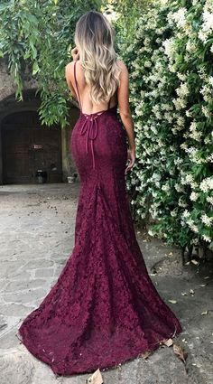 Amazing Lace Maroon Prom Dresses 2018, V Neck Spaghetti Strap Long Evening Dress, Lace Prom Dresss, Burgundy Lace Prom Evening Dress, Formal dresses - Thumbnail 1