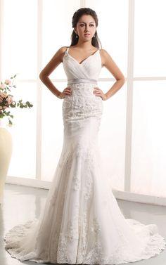 Sexy Meerjungfrau Perlenbesetztes Brautkleid mit Rosette mit V-Ausschnitt