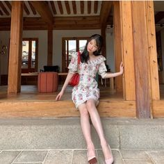 """ look so adorable is this little floral dress 💐🌷🌹🌺🌸🌼🌻 Korean Girl, Asian Girl, Luna Fashion, Flower Dresses, Kpop Girls, Korean Fashion, My Girl, Short Sleeve Dresses, Celebs"