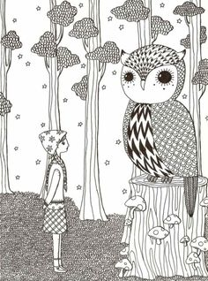 a visit to mr. owl by littlebighead on Etsy