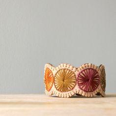 Circles Hand Embroidered Penny Wool Felt Cuff Bracelet by LoftFullOfGoodies…