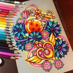 Sailor Moon And Dragon Ball Z Coloured Drawing By Danielle J. Washington