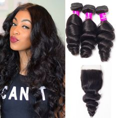 """La'Mo Hair on Instagram: """"Beautiful curls🔥 she slayed the Loose Wave Bundles With Lace Closure, 8-26 inch is available for anyone, anywhere and anyday❤️ #shepretty👸…"""" Weave Hairstyles, Straight Hairstyles, Buy Hair Extensions, Best Virgin Hair, Virgin Hair Bundles, Waves Bundle, Loose Waves, Remy Human Hair, Lace Closure"""