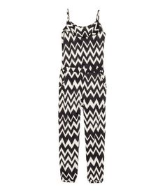 Jumpsuit in soft jersey with narrow shoulder straps, an elasticated seam at the…
