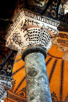 Byzantine column and capital - Hagia Sophia, Istanbul, TUR. Byzantine Architecture, Church Architecture, Religious Architecture, Classical Architecture, Aya Sophia, Sainte Sophie, Masonic Symbols, Byzantine Art, Hagia Sophia