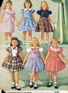 Girls' vintage fashion - I remember wearing dresses like this. :)