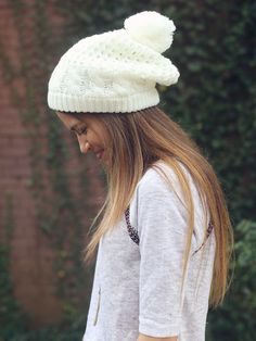 Altar'd State Pom Pom Toboggan in Ivory - Featured Looks