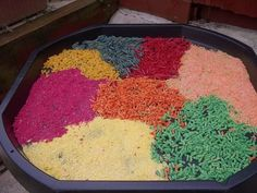 "Dyed rice pasta ready for pouring scooping at Childminding Watford Playful Minds ("",) Work Activities, Preschool Activities, Activity Ideas, Sensory Bins, Sensory Play, Early Learning, Kids Learning, Cement Mixing Tray, Tuff Spot"