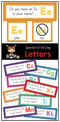 I reall want to do this! Questions of the Day with the alphabet - perfect to practice letter names! Preschool Names, Preschool Letters, Letter Activities, Preschool Lessons, Kindergarten Literacy, Preschool Classroom, Preschool Activities, Preschool Learning, Literacy Centers