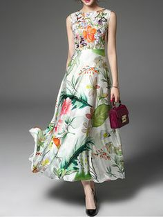 Floral Sleeveless Swing Casual Crew Neck Maxi Dress