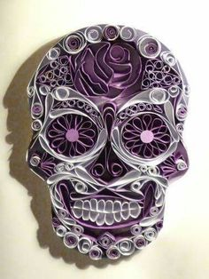Paper Quilling - Inked Magazine Soon cool! I'd hang this as art in the house! - Paper Quilling – Inked Magazine Soon cool! I'd hang this as art in the house! Paper Quilling Tutorial, Paper Quilling Designs, Quilling Patterns, Arte Quilling, Quilling Paper Craft, Skull Crafts, Rolled Paper Art, Quilled Creations, Sugar Skull Art