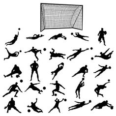 Soccer goalkeeper silhouette set by Juliars on Chess Tattoo, Soccer Tattoos, Liverpool Tattoo, Football Poses, Goalkeeper Training, 3d Pencil Drawings, Soccer Goalie, Soccer Pictures, Soccer Stars