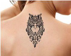 Arte tatuaje temporal 1 buho del tatuaje cuerpo Ultra delgado