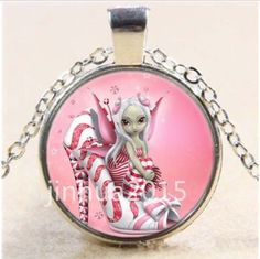 Vintage.Pink High Heels Fairy Cabochon Glass Tibet Silver Chain Pendant Necklace #Unbranded