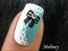 Tiffany Black Bow Sticker NaiIs Cute Classy Pretty Lace Nail Art Design Tutorial Alice in Wonderland