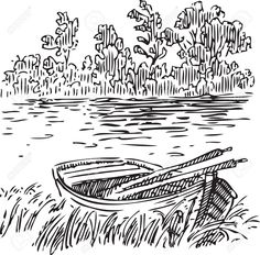 Boat With Oars Near The Shore Royalty Free Cliparts, Vectors, And Stock Illustration. Pic 15449398.