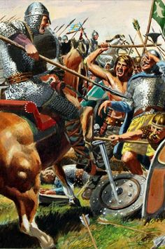 a colour drawing of the Battle of Hastigs with King Harold falling with an arrow to his eye Medieval World, Medieval Armor, Medieval Times, Military Art, Military History, Norman Knight, Renaissance Time, Ladybird Books, Norse Vikings