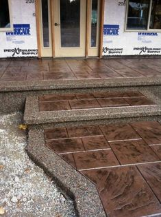 Betonterrasse Entry with stamped concrete samples! If your property is a smaller one where some A Go Stamped Concrete Patterns, Stamped Concrete Driveway, Concrete Patio Designs, Concrete Driveways, Concrete Floors, Walkways, Concrete Stamping, Stained Concrete Porch, Stamped Concrete Designs