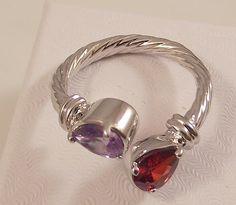 Ladies Garnet/Amethyst CZ 18K White Gold Wrap Style Ring~Size 8-Free Gift Box