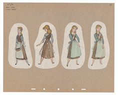 illustration in graphite, ink and gouache showing Cinderella in four poses wearing drab dress and apron doing chores