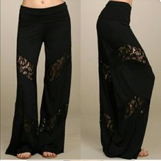 Lace Pants Brand new. Wide leg pants with lace inserts. Food over waist. Size small. Pants Wide Leg