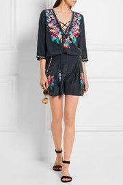Embellished embroidered silk crepe de chine shorts