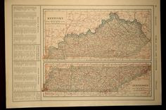 Tennessee Map Kentucky Railroad Antique State Original 1920s