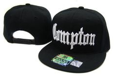 Compton Flat Bill Snap Cap Hat Black White by JTJ Headwear. $9.99. Material 100% Acrylic. Brand new Quality Good. One size fits most. Adjustable Snapback. Black/ red,green under bill black Eyelets and top button front Embroidery Compton We only post out hats in Boxes to ensure their safe Delivery