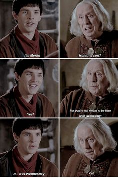 Merlin 1x01// This is my friends and I ( me: *sitting on the phone before history lesson * * looks up to see everyone reading notes *Are we gonna have something Friend: Well we have test today me: no its supposed to be on friday friend: today is friday me:.... Oh..)