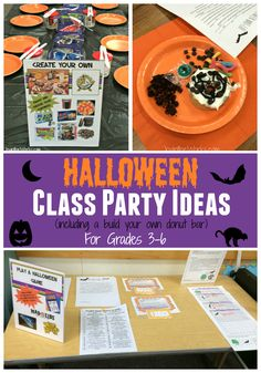 Searching for ideas for Halloween Class Parties for your older elementary students? Check out these activities including a decorate your own donut bar!