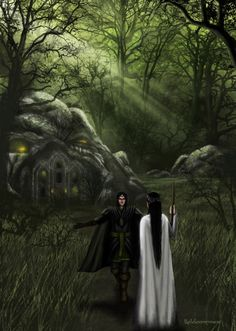 [In the depths of the wood] were his smithy, and his dim halls, and such servants as he had, silent and secret as their master. And when Aredhel, weary with wandering, came at last to [Eöl's] doors, he revealed himself; and he welcomed her, and led her into his house. The Silmarillion, Chapter 16 (Welcome to Nan - Elmoth - Eol and Aredhel by Noldomirwen, deviantART)