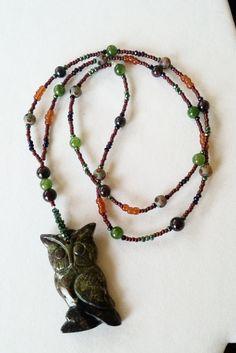 Jasper Owl Bead Pendant by Earthcentricity on Etsy