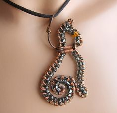 Cat On A Leash Wire Wrapped Pendant Neckace