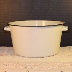 White Enamel Stock Pot Vintage Camping Pot by ShellysSelectSalvage