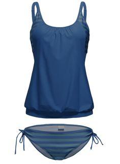 Amazon.com: ACHICGIRL Women Blue Color Block Striped Tankini with Triangle Briefs: Clothing