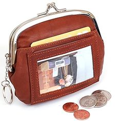 05. Womens Leather Coin Purse Mini Wallet Metal Frame ID Window Credit Card Case New