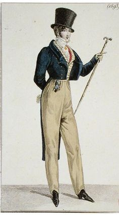 Pantaloons: they are pants that would be more fitted to the leg than trousers. They can be seen in the picture above and were seen on men during this time period